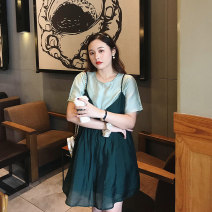 Women's large Spring 2021, summer 2021 Suspender skirt, shirt Large XL, large XXL, large XXL, large XXXXL, large XXXXL Two piece set commute easy thin Socket Short sleeve Solid color Korean version Crew neck routine polyester Collage routine 25-29 years old Button 96% and above Short skirt