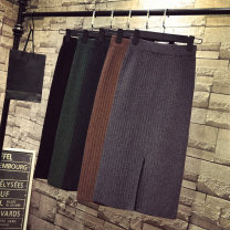 skirt Autumn 2020 S,M,L,XL,2XL,3XL Middle-skirt commute High waist Solid color Type H 18-24 years old 51% (inclusive) - 70% (inclusive) knitting cotton Korean version