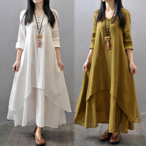 Dress Summer of 2019 M,L,XL,2XL,3XL,4XL,5XL longuette singleton  Long sleeves commute V-neck Loose waist Solid color Socket Big swing routine Other / other Korean version bow 51% (inclusive) - 70% (inclusive) cotton