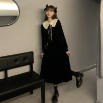 Dress Winter 2020 Picture color S,M,L,XL,2XL Mid length dress singleton  Long sleeves commute Doll Collar High waist Solid color Socket A-line skirt routine 18-24 years old Type A Korean version Button 30% and below