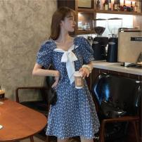 Women's large Summer 2021 blue Large L, large XL, s, m, 2XL, 3XL, 4XL Dress singleton  commute Socket Short sleeve Korean version other puff sleeve Middle-skirt Lotus leaf edge