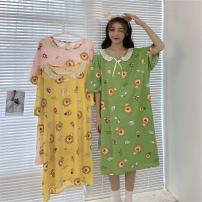 Women's large Summer 2021 Lemon yellow, butter green, lovely pink Large L, large XL, s, m, 2XL, 3XL, 4XL singleton  Sweet Short sleeve Cartoon animation Crew neck routine Middle-skirt
