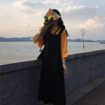 Dress Autumn of 2019 Black strap skirt with white and orange interior S. M, average size longuette Two piece set commute High waist 18-24 years old Type A Other / other Korean version 31% (inclusive) - 50% (inclusive)