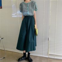 skirt Summer 2021 Average size Green Plaid top, red plaid top, green skirt, red skirt Mid length dress Versatile High waist A-line skirt Solid color Type A 18-24 years old 30% and below other Other / other cotton