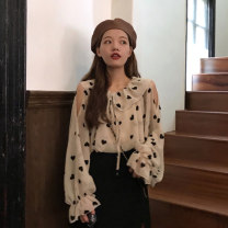 shirt Apricot, black Average size Autumn of 2019 other 31% (inclusive) - 50% (inclusive) Long sleeves Versatile Regular Lotus leaf collar Socket pagoda sleeve 18-24 years old Other / other