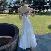Dress Spring 2021 white L,S,M longuette singleton  middle-waisted Solid color Socket Cake skirt Type A 8781#
