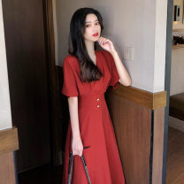 Dress Summer 2021 Black, red S,XL,L,M longuette singleton  Short sleeve commute V-neck High waist Solid color Socket Big swing routine Others 25-29 years old Splicing 81% (inclusive) - 90% (inclusive) other