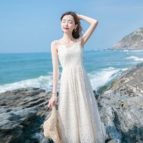 Dress Summer 2021 Off white S,XL,XS,L,M Mid length dress singleton  Sleeveless commute V-neck High waist Solid color Socket Big swing routine Others 18-24 years old Splicing 71% (inclusive) - 80% (inclusive) other polyester fiber
