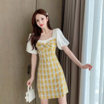 Dress Summer 2021 Yellow, red S,XL,L,M Mid length dress singleton  Short sleeve square neck High waist lattice Socket A-line skirt puff sleeve Others 18-24 years old Splicing other