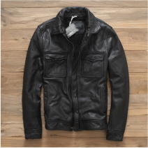 leather clothing PM.PIROMO/ Pilomon Fashion City black M,L,XL,2XL,3XL have cash less than that is registered in the accounts Leather clothes Lapel Slim fit zipper autumn leisure time youth top layer leather tide Straight hem Zipper bag Multiple pockets