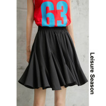 skirt Summer 2021 S,M,L black Short skirt commute High waist Splicing style Solid color Type A 18-24 years old More than 95% Chiffon Leisure season polyester fiber Korean version