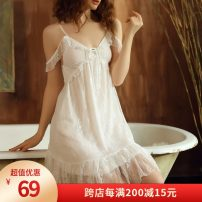 Nightdress Enjoy F & S / enjoymis sexy camisole pajamas Short skirt Solid color youth V-neck nylon lace 81% (inclusive) - 95% (inclusive) Lace fabric 729# 200g and below