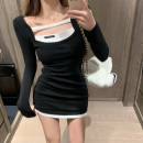 Dress Winter 2020 black Average size Short skirt singleton  Long sleeves commute High waist Solid color Socket A-line skirt routine Others 18-24 years old Type A Korean version Splicing 81% (inclusive) - 90% (inclusive) cotton