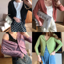 Women's large Spring 2021 Blue, yellow, purple, apricot, black, green, pink, rust red 1X,2X,3X Knitwear / cardigan singleton  commute easy thin Cardigan Long sleeves Solid color Korean version V-neck routine D9381#LT2003#0305 Xi Youzi 25-29 years old Button