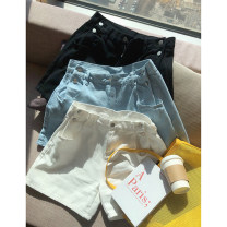 Women's large Spring 2021, summer 2021 Black, blue, off white 1X,2X,3X,4X Jeans singleton  commute easy moderate Socket Solid color Korean version cotton Three dimensional cutting K150262#YN210402 Xi Youzi 25-29 years old Button shorts