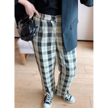 Women's large Spring 2021, summer 2021 Black lattice 1X,2X,3X,4X trousers singleton  commute Straight cylinder moderate lattice Korean version Polyester, others Three dimensional cutting K220326#YN210402 Xi Youzi 25-29 years old Ninth pants