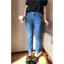 Jeans Summer 2021 blue 30,32,34,36,38 Ninth pants Natural waist Straight pants routine 25-29 years old Color contrast Cotton elastic denim light colour K9278#SS210324 Xi Youzi