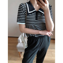 Women's large Spring 2021, autumn 2021 Black, white 1X,2X,3X Knitwear / cardigan singleton  commute Straight cylinder moderate Socket Short sleeve stripe Korean version routine Three dimensional cutting routine Xi Youzi 25-29 years old bow