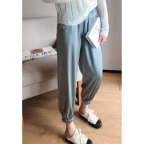 Women's large Spring 2021, summer 2021 Black, gray, green 1X,2X,3X,4X trousers singleton  commute easy thin Socket Solid color Korean version Polyester, others Three dimensional cutting K140300#YN210402 Xi Youzi 25-29 years old Button Ninth pants
