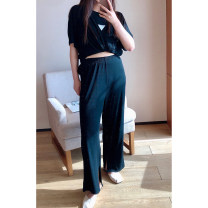 Women's large Spring 2021, summer 2021 T-shirt, wide leg pants 1X,2X,3X,4X T-shirt Two piece set commute easy moderate Socket Short sleeve Solid color, letter Korean version Crew neck routine other Three dimensional cutting routine S210369#YN210412 Xi Youzi 25-29 years old Ninth pants