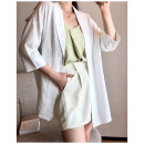 Women's large Spring 2021, summer 2021 Black, white 1X,2X,3X,4X suit singleton  commute easy thin Cardigan three quarter sleeve Solid color Korean version V-neck routine Polyester, nylon, others Three dimensional cutting routine S210335#YN210408 Xi Youzi 25-29 years old Button