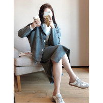 Women's large Spring 2021 Black top, grey top, black skirt, grey skirt 1X,2X,3X,4X Jacket / jacket Two piece set commute easy moderate Cardigan Long sleeves Solid color Korean version Hood routine Polyester, cotton Three dimensional cutting D7940#NX210319 Xi Youzi 25-29 years old Medium length
