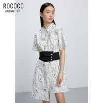 Dress Summer 2021 Decor S M L XL Middle-skirt singleton  Short sleeve commute Polo collar High waist Single breasted Irregular skirt routine 25-29 years old Type H Rococo / Rococo Korean version Button 299513TA1112 More than 95% other cotton Cotton 96.9% polyurethane elastic fiber (spandex) 3.1%