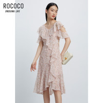 Dress Summer 2021 Decor S M L XL Mid length dress singleton  Short sleeve commute V-neck High waist Broken flowers zipper other routine 25-29 years old Type X Rococo / Rococo Korean version Lotus leaf edge 608213TA1115 More than 95% Chiffon polyester fiber Polyester 100% Pure e-commerce (online only)