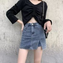 skirt Spring 2021 XS,S,M,L,XL,2XL Retro Blue [stretch jeans skirt] Short skirt High waist skirt Denim Button, zipper