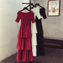 Dress Summer 2021 Average size longuette singleton  Short sleeve commute One word collar High waist Solid color Socket Cake skirt routine Others 18-24 years old Type A Korean version Pleating, stitching More than 95% Chiffon polyester fiber