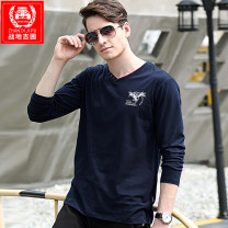 T-shirt Fashion City Black, gray, sapphire thin M,L,XL,2XL,3XL ZHAN DI JI PU Long sleeves V-neck easy daily spring 8801 V-neck Cotton 95% polyurethane elastic fiber (spandex) 5% youth routine tide 2020 Alphanumeric Button decoration Animal design Domestic famous brands