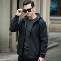 Sweater Fashion City jpdun Black, dark green, dark grey M. L, XL, 2XL, 3XL, 4XL (200-225kg) Solid color Cardigan Hood winter easy leisure time tide routine Polyester 72.1% cotton 27.9% Side seam pocket zipper