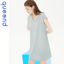 Nightdress Queen'd / Chundu Retro Blue weeping willow green wax powder S M L XL XXL Simplicity Short sleeve Leisure home Short skirt summer Solid color youth V-neck cotton More than 95% Summer 2020 Cotton 100% Same model in shopping mall (sold online and offline)