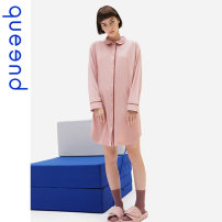 Nightdress Queen'd / Chundu Apricot pollen 155(S) 160(M) 165(L) 170(XL) 175(XXL) Simplicity Long sleeves Leisure home Middle-skirt spring Solid color youth Shirt collar viscose  41% (inclusive) - 60% (inclusive) 200g and below Spring 2021 Same model in shopping mall (sold online and offline)