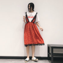 Dress Summer 2020 gules FREE SIZE Mid length dress Fake two pieces Short sleeve commute Crew neck Elastic waist Broken flowers Socket A-line skirt routine Others 25-29 years old Type X Retro 51% (inclusive) - 70% (inclusive) Chiffon cotton
