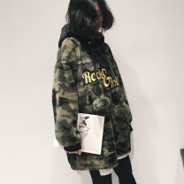 Sweater / sweater Winter 2020 Camouflage green FREE SIZE Long sleeves Medium length Socket singleton  thickening Hood Straight cylinder street routine 25-29 years old 81% (inclusive) - 90% (inclusive) other Patch, pocket, drawstring Sports & Leisure