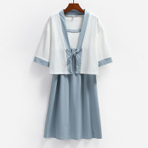 Pajamas / housewear set female buupnn S M L XL XXL White / azure / jade green / meat powder cotton three quarter sleeve Simplicity Leisure home summer Thin money Crew neck Solid color Socket middle age 2 pieces 81% (inclusive) - 95% (inclusive) Lycra Lycra LYQ-5121 200g and below Summer 2021