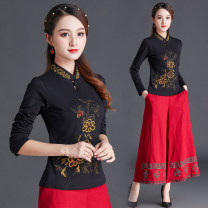 T-shirt L,XL,2XL,3XL,4XL,5XL,6XL Spring 2021 Long sleeves stand collar Self cultivation Regular routine commute cotton 86% (inclusive) -95% (inclusive) ethnic style classic Plants, flowers, splicing Su Yi embroidery