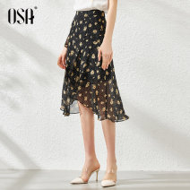 skirt Summer 2020 S,M,L,XL Middle-skirt commute Natural waist A-line skirt Solid color Type A 25-29 years old More than 95% Chiffon OSA polyester fiber Button Simplicity