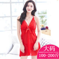 Pajamas / housewear set female Other / other Large size (100-200kg) White, black, red, jujube nylon camisole pajamas Thin money V-neck Solid color 2 pieces 61% (inclusive) - 80% (inclusive) Mesh fabric Short skirt