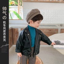 Plain coat McCarthy male 90cm,100cm,110cm,120cm,130cm black spring and autumn Korean version Zipper shirt There are models in the real shooting routine nothing Solid color Leatherwear Crew neck qs339