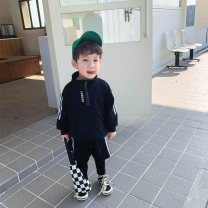 suit McCarthy Grey, black, green, orange 80cm,90cm,100cm,110cm,120cm,130cm male spring and autumn motion Long sleeve + pants 2 pieces routine There are models in the real shooting Socket nothing Solid color cotton children Expression of love ct037 Chinese Mainland Zhejiang Province Huzhou City