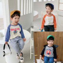 T-shirt Black, rust red, navy blue McCarthy 90cm,100cm,110cm,120cm,130cm male spring and autumn Long sleeves Crew neck leisure time There are models in the real shooting nothing cotton Cartoon animation qt350 Sweat absorption Chinese Mainland Zhejiang Province Huzhou City