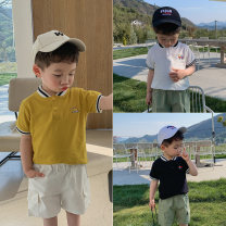T-shirt White, black, yellow McCarthy 90cm,100cm,110cm,120cm,130cm male summer Short sleeve Crew neck leisure time There are models in the real shooting nothing cotton Solid color xt406 7 years old, 12 months old, 3 years old, 6 years old, 18 months old, 2 years old, 5 years old, 4 years old