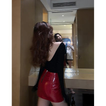 skirt Autumn of 2019 S,M,L Black, red, white Miniskirt Natural waist A-line skirt 30% and below polyester fiber
