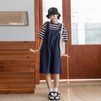 Dress Spring 2021 blue Average size Mid length dress Fake two pieces Short sleeve Sweet Loose waist stripe Socket Big swing Others 18-24 years old Stitching, printing, pocket, three-dimensional decoration other