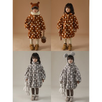 Plain coat Yoehaul / youyou female 80cm,90cm,100cm,110cm,120cm,130cm Apricot dots, caramel dots winter leisure time There are models in the real shooting Plush nothing Cotton blended fabric other Q1582 Hemp 100%