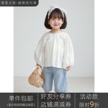 T-shirt Yoehaul / youyou 80cm,90cm,100cm,110cm,120cm,130cm,140cm female spring and autumn Long sleeves Crew neck leisure time There are models in the real shooting nothing Cotton blended fabric Solid color Other 100% other other Chinese Mainland Zhejiang Province Hangzhou