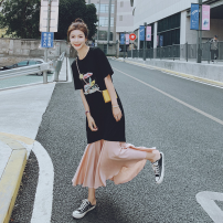 Dress Other / other Short sleeve have more cash than can be accounted for summer Crew neck letter Chinese Mainland Zhejiang Province Hangzhou black S,M,L,XL