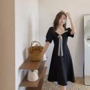 Women's large Summer 2021 black Large L (recommended 90-100 kg), large XL (recommended 100-120 kg), large XXL (recommended 120-140 kg), large XXXL (recommended 140-160 kg), large XXXXL (recommended 160-180 kg) Dress singleton  commute easy thin Socket Short sleeve Korean version polyester routine